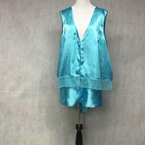 Other - Plus Size Satin Pajama Shorts Set Blue 4X 4T ..